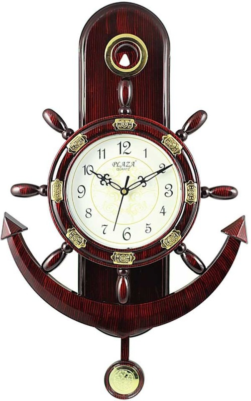 Plaza Analog Wall Clock(Glossy Marron, With Glass)