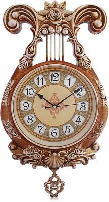 Fieesta Steven2924 Golden Color Vintage Designer Pendulum Wall Clock Analog 36 cm Dia Wall Clock