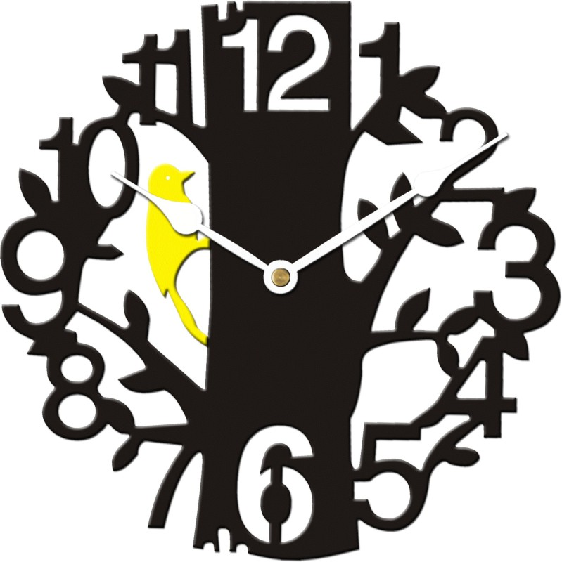 Basement Bazaar Analog Wall Clock(Black, Without Glass)
