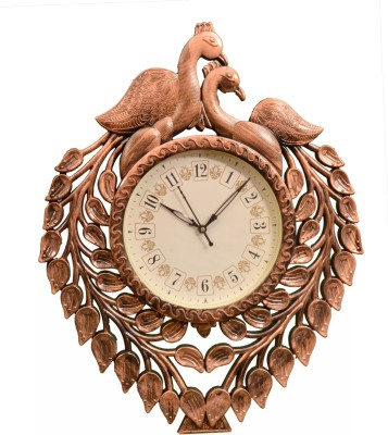 Wallace Renault511 Copper Peacock Design Analog 40 cm Dia Wall Clock
