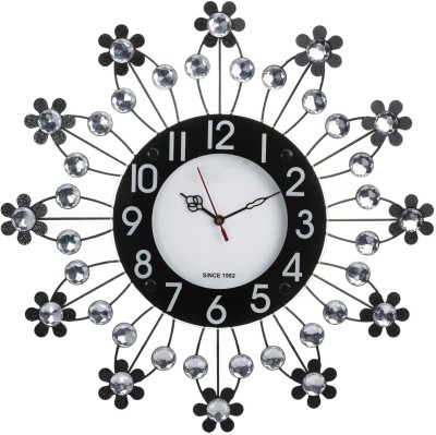 Wallace Victor203 Decorative Metal-Glass Diamond Studded Analog 47 cm Dia Wall Clock