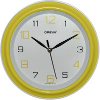 Ajanta Oreva Analog Wall Clock(Yellow, With Glass)