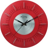 Home Analog Wall Clock (Red & Shiny Silv...