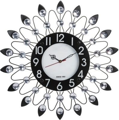 Wallace Victor201 Decorative Metal-Glass Diamond Studded Analog 47 cm Dia Wall Clock