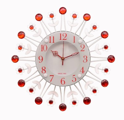Wallace 314-Red Designer Metal-Glass Crystal Studded Analog 38 cm Dia Wall Clock