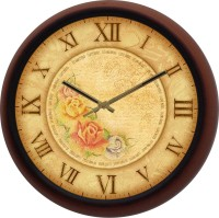 Craft Shopi Analog Wall Clock(Brown, With Glass)