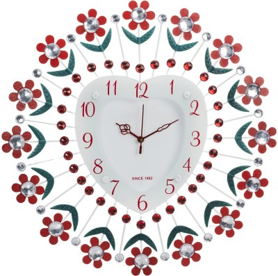Wallace Victor207 Decorative Heart Shaped Metal-Glass Diamond Studded Analog Wall Clock