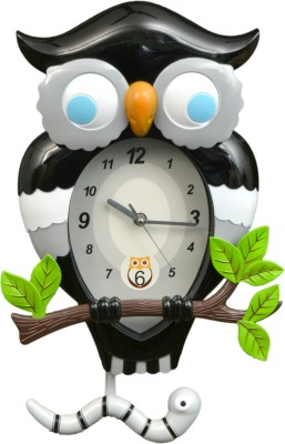Wallace 7451a-2 Designer Owl Shaped Pendulum Analog Wall Clock