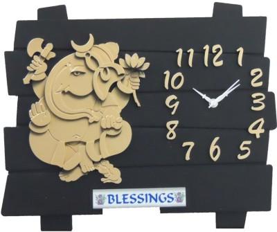 Ravishing Blessings Black Ganesh Analog Wall Clock