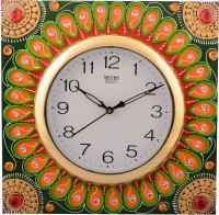 eCraftIndia Analog 31 cm Dia Wall Clock(Orange, Green, Brown, With Glass)