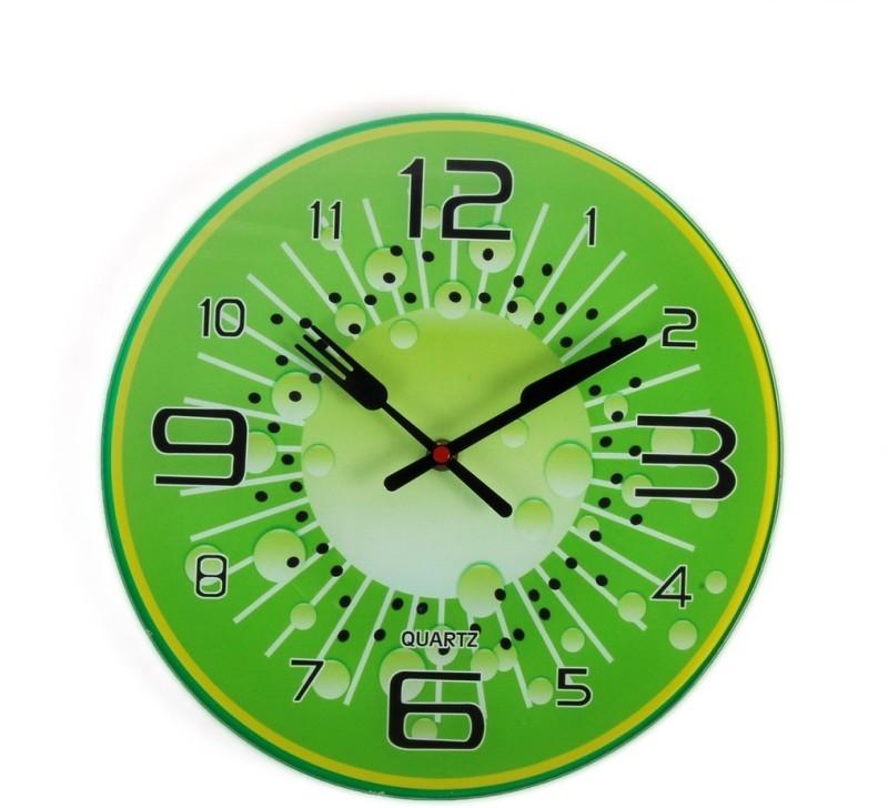 Cortina Analog Wall Clock(Green, Without Glass)