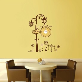 SYGA Analog Wall Clock(Brown, Without Glass)