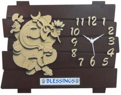 Ravishing Blessings Brown Ganesh Wall Clock Analog Wall Clock