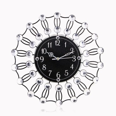 Victor311 Molded Wrought Iron Crystal Studded Designer Analog 36 cm Dia Wall Clock