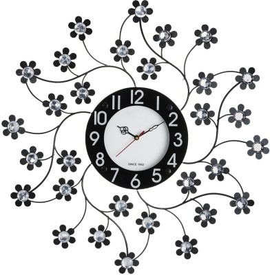 Wallace 105-Black Decorative Petal Design Metal-Glass Studded Analog 58 cm Dia Wall Clock