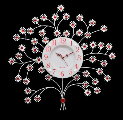 Wallace 801 Red Glass Ruby Crystal Studded Tree Design Analog 60 cm Dia Wall Clock