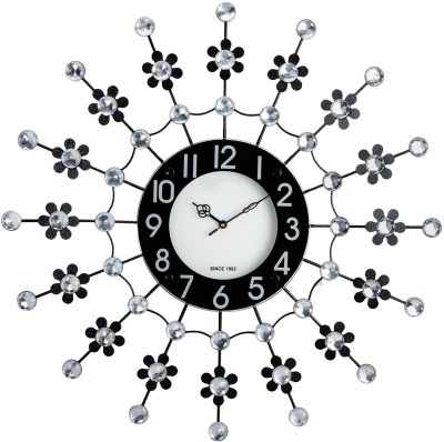 Wallace Victor106 Decorative Metal-Glass Diamond Studded Analog 58 cm Dia Wall Clock