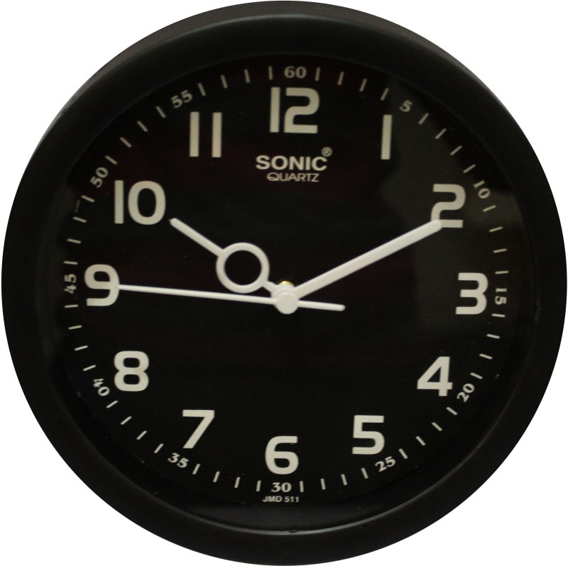 SONIC Analog Wall Clock(Black, With Glass)