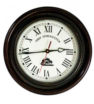 Brown Village Analog 15 cm Dia Wall Clock