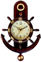 Cedar Plaza Anchor and Steering Pendulam Analog Wall Clock(Dark Wooden, With Glass)
