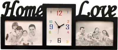 Wallace Sonic431-Black Multi Photo Frame With Clock Analog Wall Clock