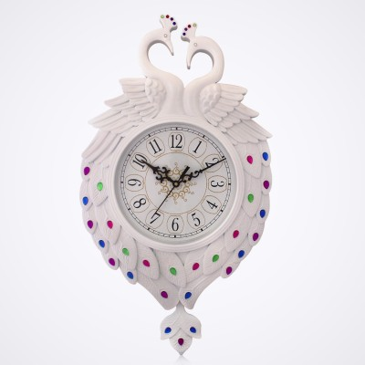 Fieesta Dollar785 White Peacock Design Analog Wall Clock