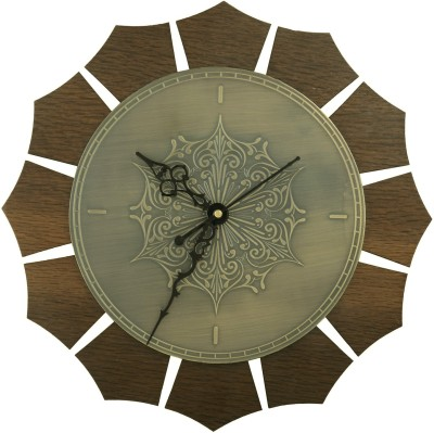 Kalakruti Clocks Analog Wall Clock(Brown and Brass Antique, Without Glass)