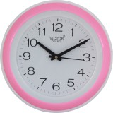 Victor Analog Wall Clock (Pink, With Gla...