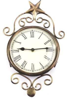 Brown Village Analog 20 cm Dia Wall Clock