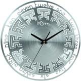 Home Analog Wall Clock (Shiny Silver, Wi...