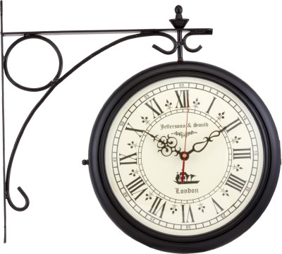 Prachin Analog Wall Clock(Black, With Glass)