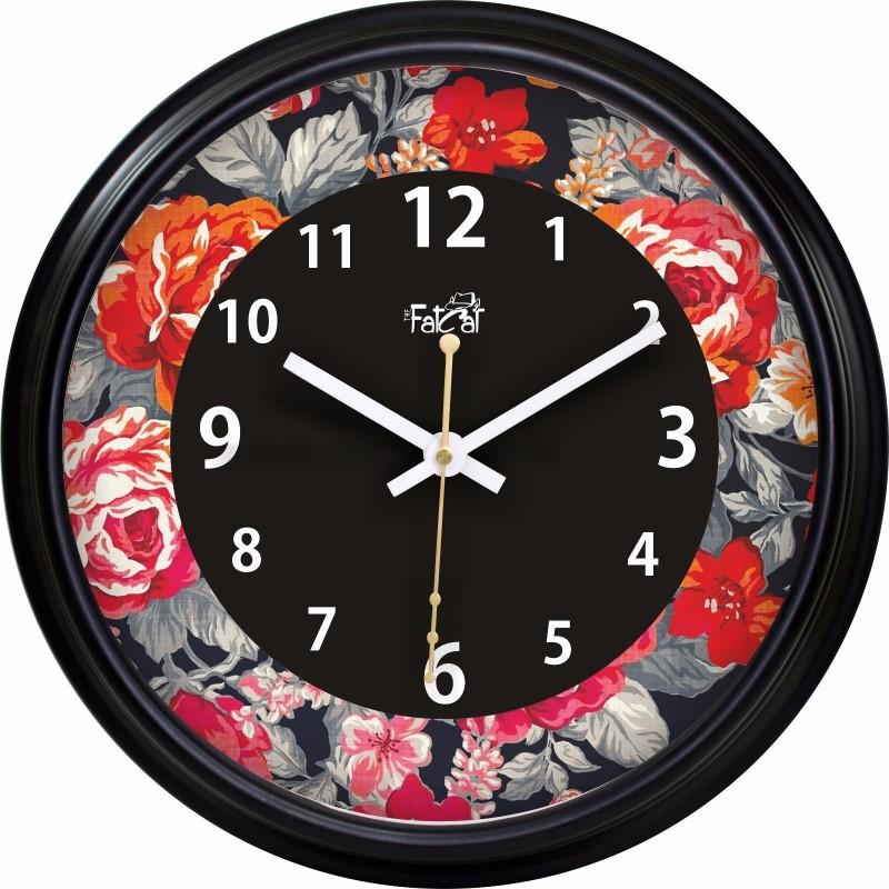 The Fat Cat Analog Wall Clock Roses_Wall Clock