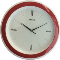 Ajanta Oreva Analog Wall Clock(Red, With Glass)