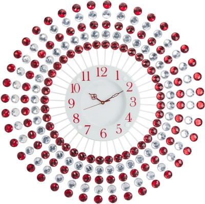 Wallace 110Red Designer Metal-Glass Ruby Studded Analog 58 cm Dia Wall Clock