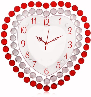 Arete Victor317 White and Red Crystal Studded Heart Shaped Designer Wall Clock Analog Wall Clock