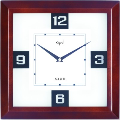 Opal Analog Wall Clock(Brown, With Glass)