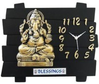 A&A Blessings Analog Wall Clock(Black Golden, Without Glass)