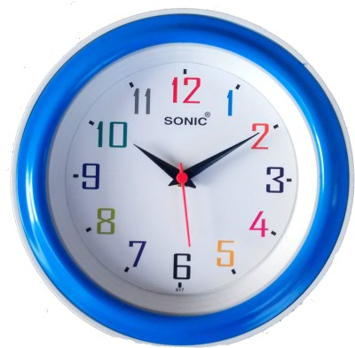 Sonic Analog Wall Clock(White, Blue, With Glass)