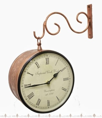 Prachin Analog Wall Clock(Copper, With Glass)