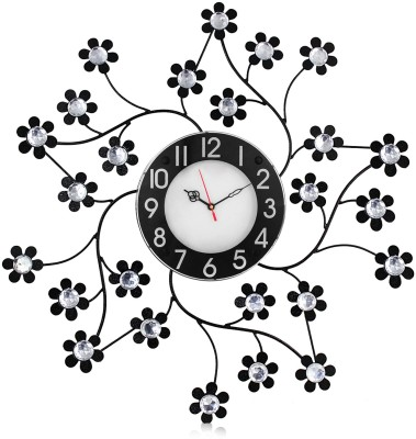 Victor105 Moulded Wrought Iron Designer Crystal Studded Analog 55 cm Dia Wall Clock