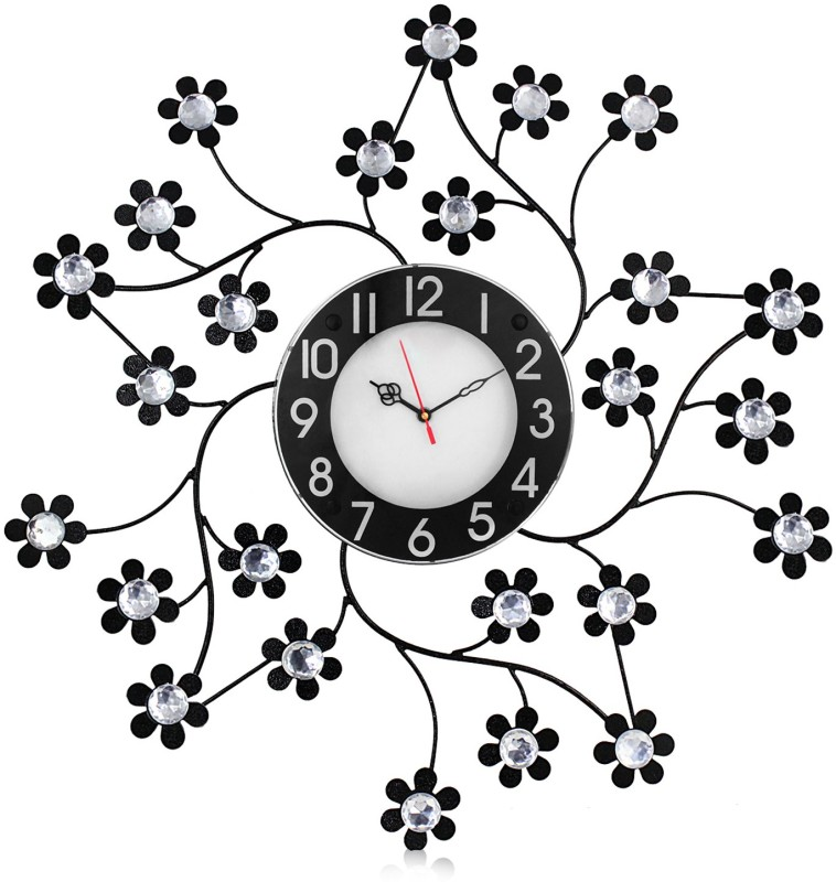 Victor105 Moulded Wrought Iron Designer Crystal Studded Analog 55 cm Dia Wall Clock victor105