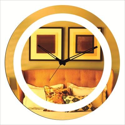 Rkason Gold Mirror Finish Double Ring Analog Wall Clock