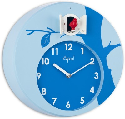 Opal Analog 32 cm Dia Wall Clock(Blue, With Glass)