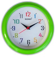 Sonic Analog Wall Clock(White, Green, With Glass)