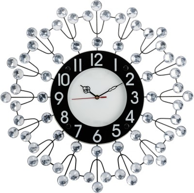 Wallace202 Designer Molded Metal-Glass Diamond Studded Analog 47 cm Dia Wall Clock