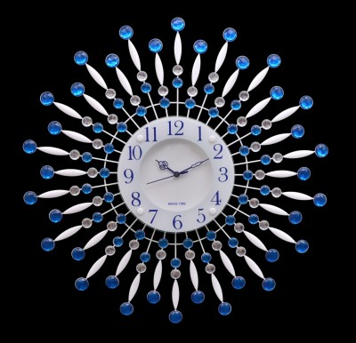 Wallace 117Metal-Glass Blue Crystal Designer Analog 58 cm Dia Wall Clock