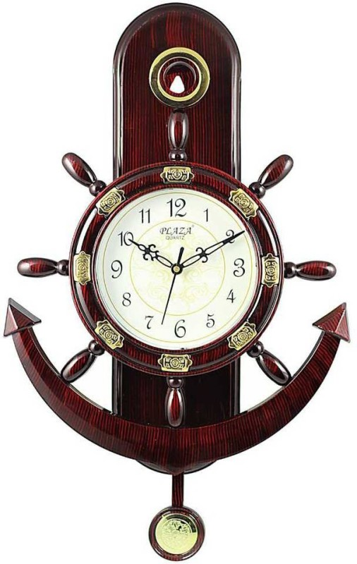 Plaza Analog Wall Clock(Brown, With Glass)