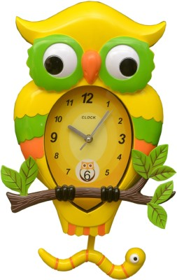Wallace 7451a-2 Designer Owl Shaped Pendulum Analog 30 cm Dia Wall Clock