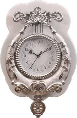 Wallace 1550-Silver White Pendulum Analog 40 cm Dia Wall Clock