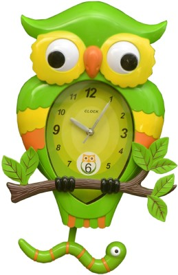 Wallace 7451a-Green Designer Owl Shaped Pendulum Analog 30 cm Dia Wall Clock